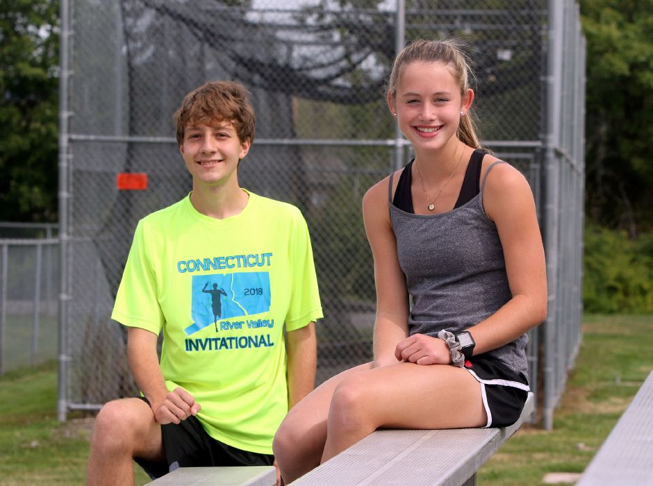 Derrick Arnold, left, and Lizzie Brown return along with fellow 2018 All-Record-Journal runner Ethan Venoit to lead coach Frank Mohr's Sheehan cross country teams in 2019.