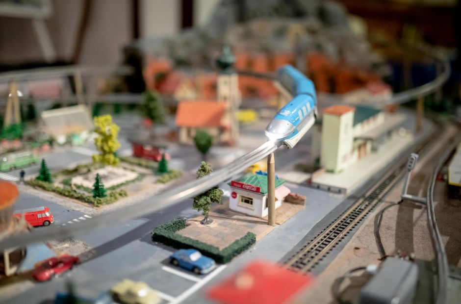 A toy monorail cruises along its track at the Train and Toy Show held by Classic Shows LLC at Zandri