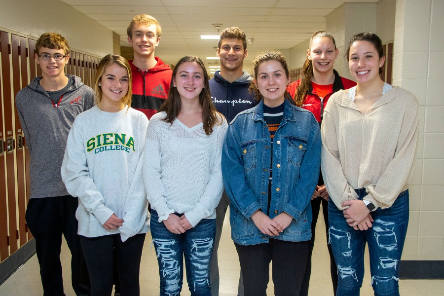 These are Cheshire High School's Record-Journal Scholar-Athletes for the 2019 fall season. In the back row, left to right, are Owen Fiore, Thomas Bonitz, Jason Shumilla and Jillian Stevens. In front, left to right, are Izzy Dzuira, Emma Shalagan, Audrey Kiesling and Lindsey Abramson. Aaron Flaum, Record-Journal