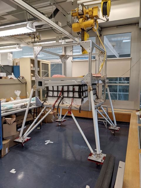 This March 2021 photo provided by researcher Yomay Shyur shows a gondola at a Harvard University facility in Cambridge, Mass., which will be tested on a balloon over Sweden for eventual possible use in releasing sunlight-reflecting aerosols into the Earth