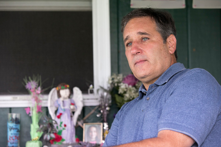 "John Fusco, of Southington, reflects on the loss of his daughter, Olivia, while sitting in a meditation area next to his residence, Friday, August 4, 2017. Olivia Fusco, 14, and her friend AnnMarie ""Annie"" Olender, 16, died in a tragic car accident on I-84 in 2015.  