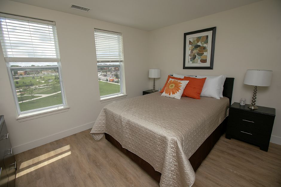 A bedroom in a model apartment on the fourth floor of the Meriden Commons, Tuesday, July 24, 2018. State and local leaders, and developers celebrated the completion of the $25 million mixed income Meriden Commons I project and the start of construction on Meriden Commons II. About 100 people attended the ribbon cutting ceremony at the amphitheater on the Meriden Green. Dave Zajac, Record-Journal