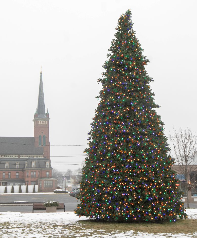 The Christmas tree at Johanna Manfreda Fishbein Park is without its star, Fri., Dec. 13, 2019. Public Works removed the star to repair a burned-out LED light driver. Dave Zajac, Record-Journal