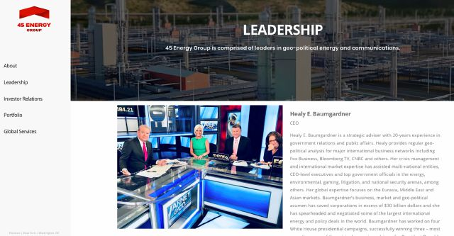 "This screen shot from the 45 Energy Group website shows Healy Baumgardner, center, in a photo on the 45 Energy Group Leadership webpage. Baumgardner, a former Trump campaign adviser, is now listed as the CEO of 45 Energy Group, a Houston-based energy company whose website describes it as a ""government relations, public affairs and business development practice group."" (AP Photo)"