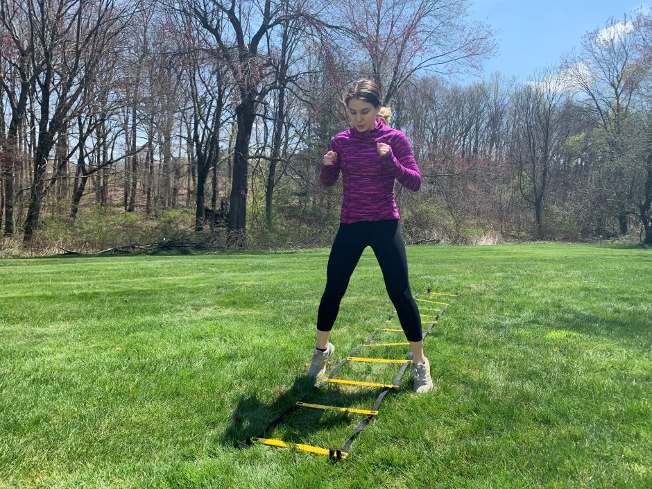 Kristen Dearborn demonstrates how to stay active outdoors. |Kristen Dearborn, Special to Record-Journal