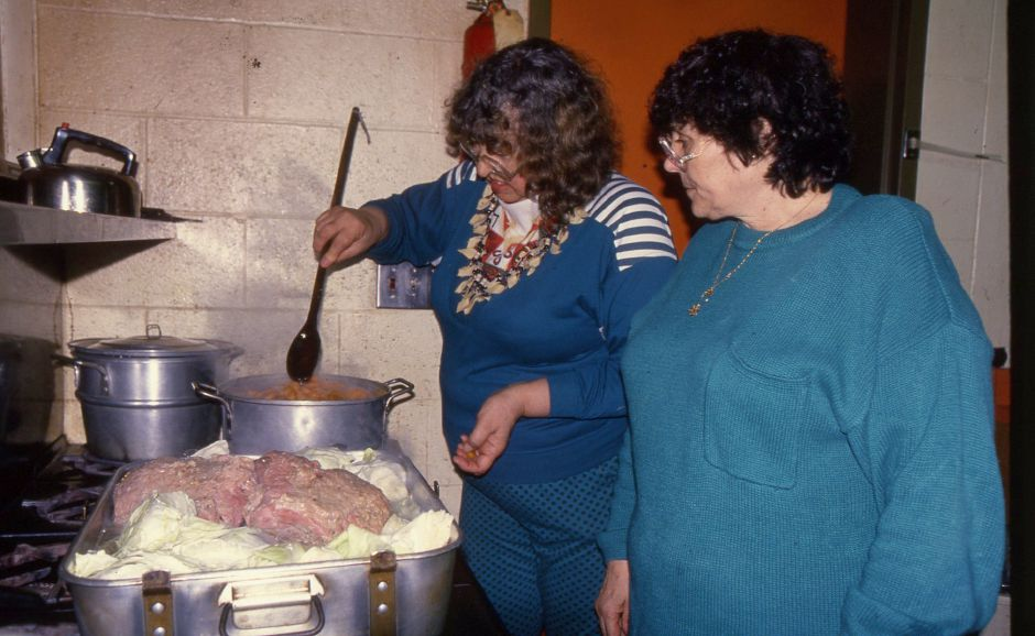 RJ file photo - Donna Giannetti and Marie McGourn prepared corned beef and cabbage last week for lunch at the Salvation Army, March 1994.