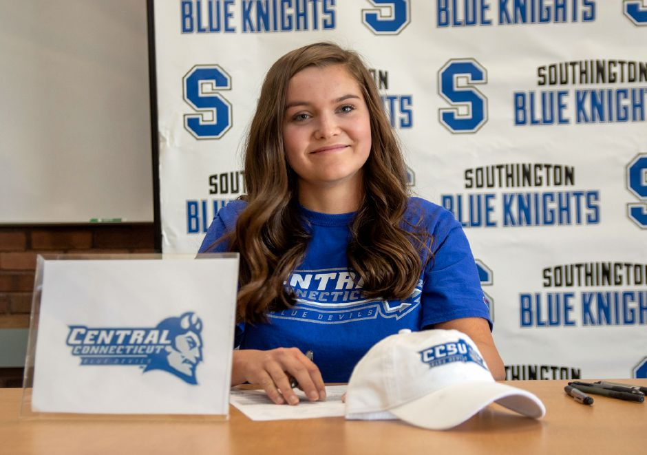 Southington High School's Katherine Crouse signs a letter of intent to Central Connecticut State University during a signing ceremony at the Southington Library on Wednesday, Nov. 13, 2019. Aaron Flaum, Record-Journal