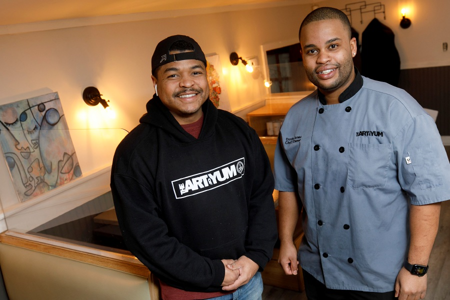 Michone Arrington, left, and Donte Jones, owners of The Art of Yum, a new restaurant under renovation in the former Steve