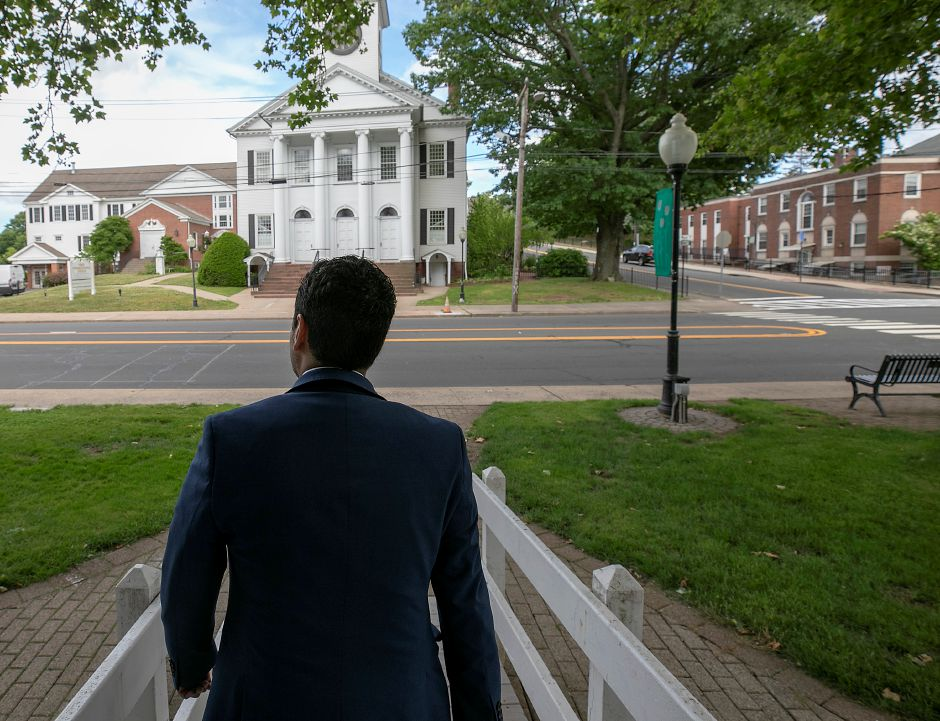 Southington Board of Education member David Falvo walks down the ramp from the gazebo on the Southington town green, Thurs., Jun. 18, 2020. Dave Zajac, Record-Journal