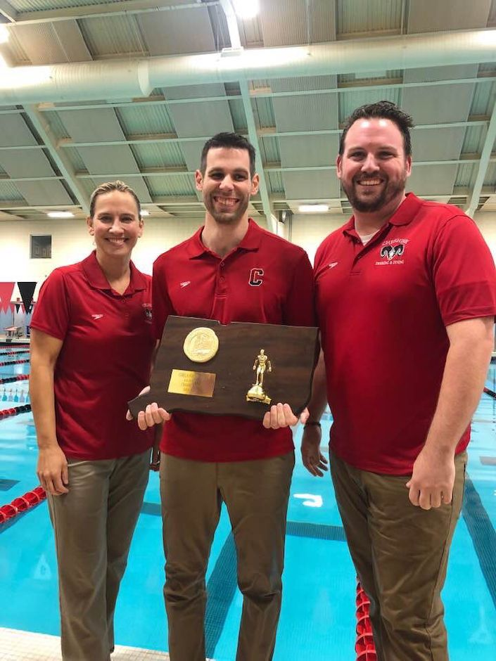 Cheshire girls swim coach Dave Modzelewski, flanked by diving coach Patty Conte and assistant coach Shea Moriarty, has taken up the reins of the boys swim program in the wake of Kevin Reeder's departure. The coaching change is expected to be for one year only. Reeder, who has changed jobs, is hoping to back for the 2021-22 season.