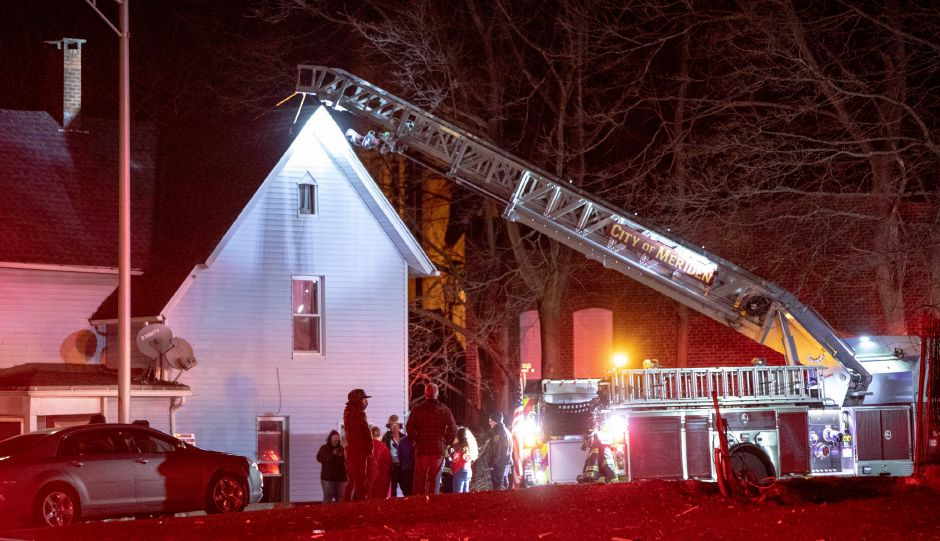 Meriden firefighters responded to a house fire at 1 Kirtland Place on Jan. 12, 2020. There were no reported injuries but the second floor was significantly damaged. | Devin Leith-Yessian/Record-Journal