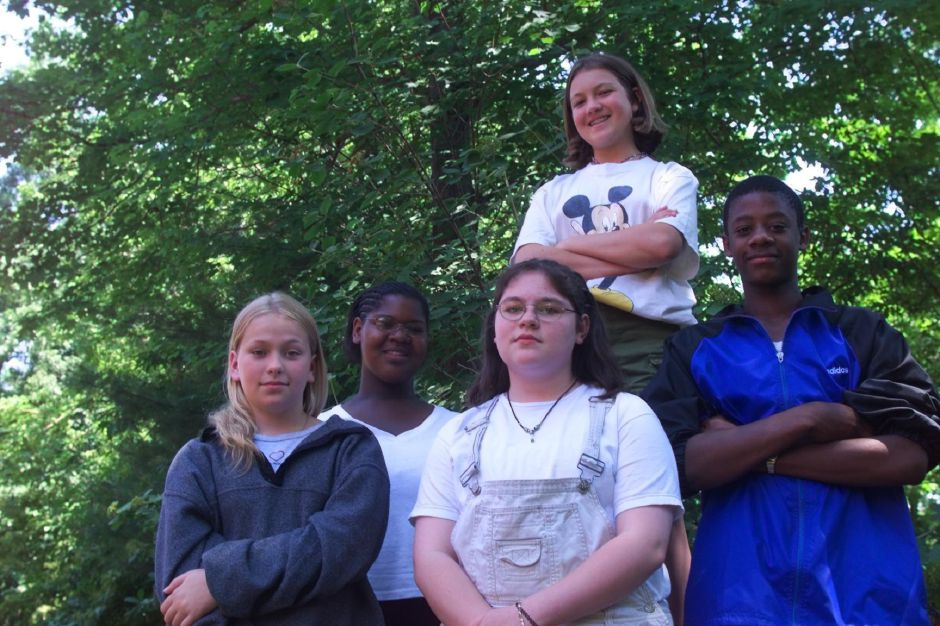 RJ file photo - Washington Middle School Jim Smith good writing award winnners L-R Katie Lloyd, Rebekah King, Stacia Twarog, Amanda Smith (top) and Mark Bland June 22, 1999.