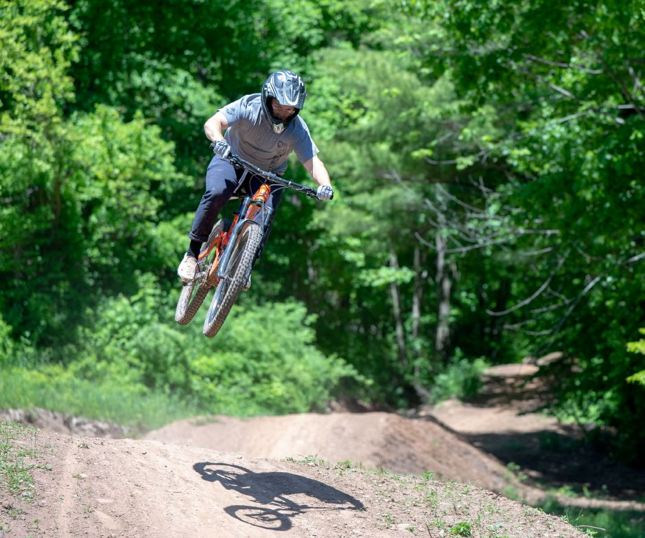 Mountain bikers returned to Powder Ridge in Middlefield on May 31, 2020. The park resumed allowing biking, disc golf and outdoor dining on May 21 as the state began lifting quarantine restrictions on businesses. | Devin Leith-Yessian/Record-Journal