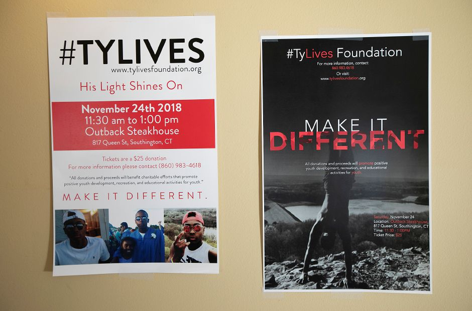 "Fundraising posters for the TyLives ""Make it Different"" charitable foundation, Fri., Nov. 16, 2018. On Nov. 24, the Make It Different Foundation will have a benefit lunch at the Outback Steakhouse, 817 Queen St., from 11:30 a.m. to 1 p.m. Tickets are 25. For more information call 860-983-4618. Dave Zajac, Record-Journal"