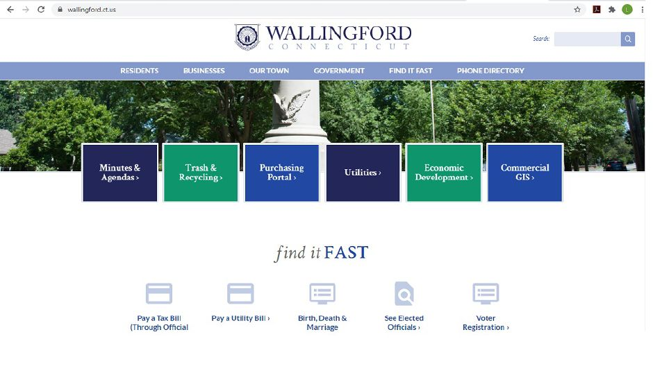 The homepage of the new Wallingford town website, June 26, 2020. | Lauren Takores, Record-Journal