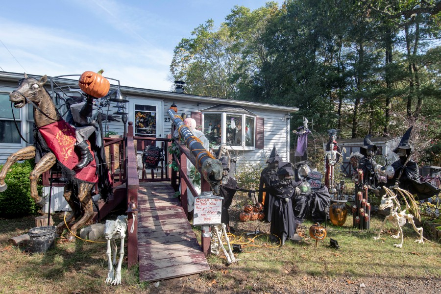 Halloween decorations outside the Wallingford home of Judy Washburn, who plans to hand out candy on Oct. 31 despite the Coronavirus pandemic. Her two daughters have also decorated their Wallingford homes. | Devin Leith-Yessian/Record-Journal