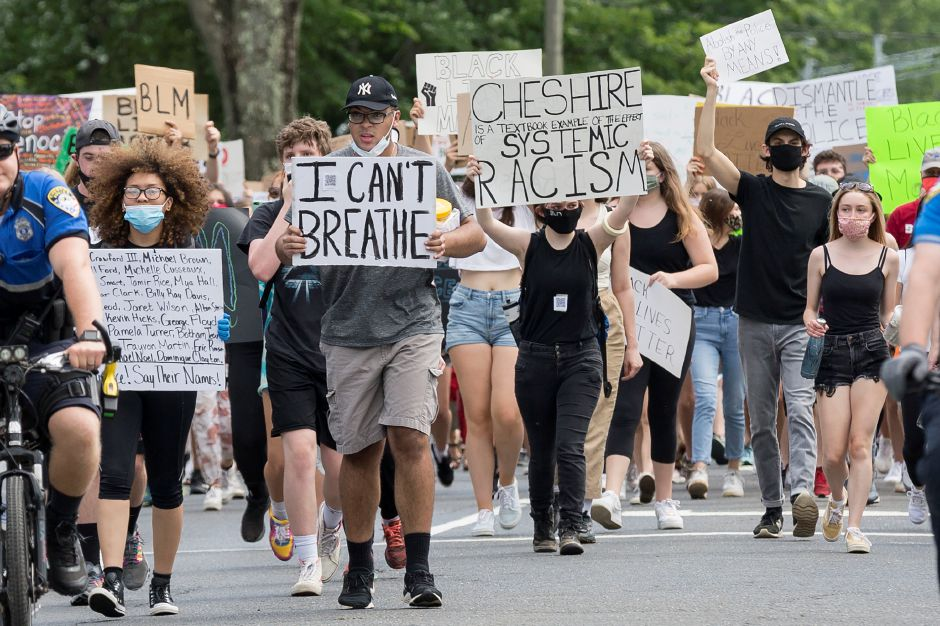 "Tracey Harrington/Cheshire HeraldThe ""Black Lives Matter"" March on Sunday, June 7, in Cheshire attracted a large crowd of protesters who marched from Bartlem Park to Town Hall."
