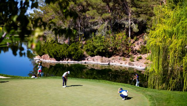 Lanto Griffin, lower left, putts on the fourth green during the third round of the CJ Cup golf tournament at Shadow Creek Golf Course, Saturday, Oct. 17, 2020, in North Las Vegas. (Chase Stevens/Las Vegas Review-Journal via AP)