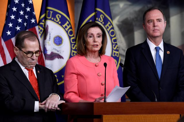 House Speaker Nancy Pelosi of Calif., center, flanked by House Judiciary Committee Chairman Rep. Jerrold Nadler, D-N.Y., left, and House Intelligence Committee Chairman Rep. Adam Schiff, D-Calif., speaks during a news conference to announce impeachment managers on Capitol Hill in Washington, Wednesday, Jan. 15, 2020. The U.S. House is set to vote Wednesday to send the articles of impeachment against President Donald Trump to the Senate for a landmark trial on whether the charges of...