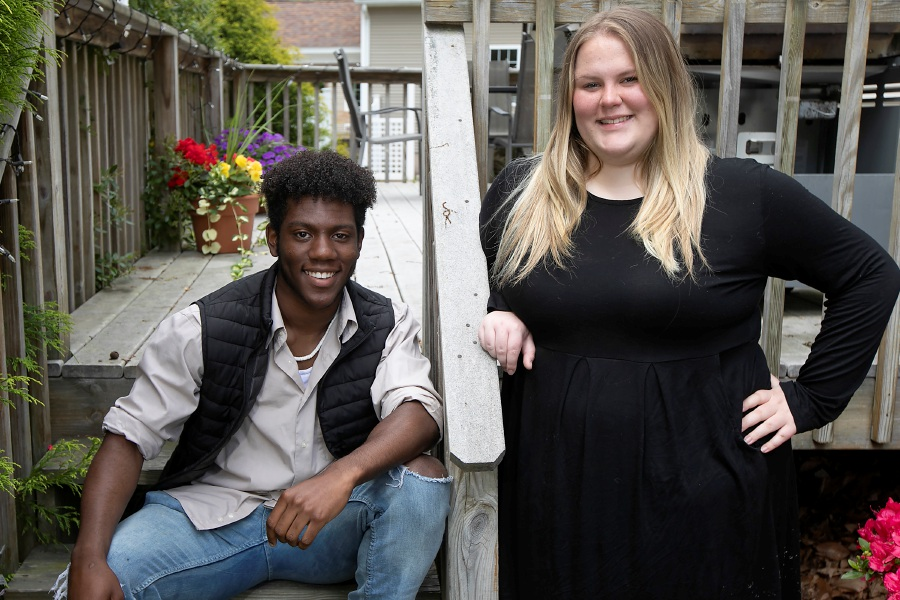Sheehan High School students Terrence Bogan, 18, and Emma Connors, 17, pose at Connors