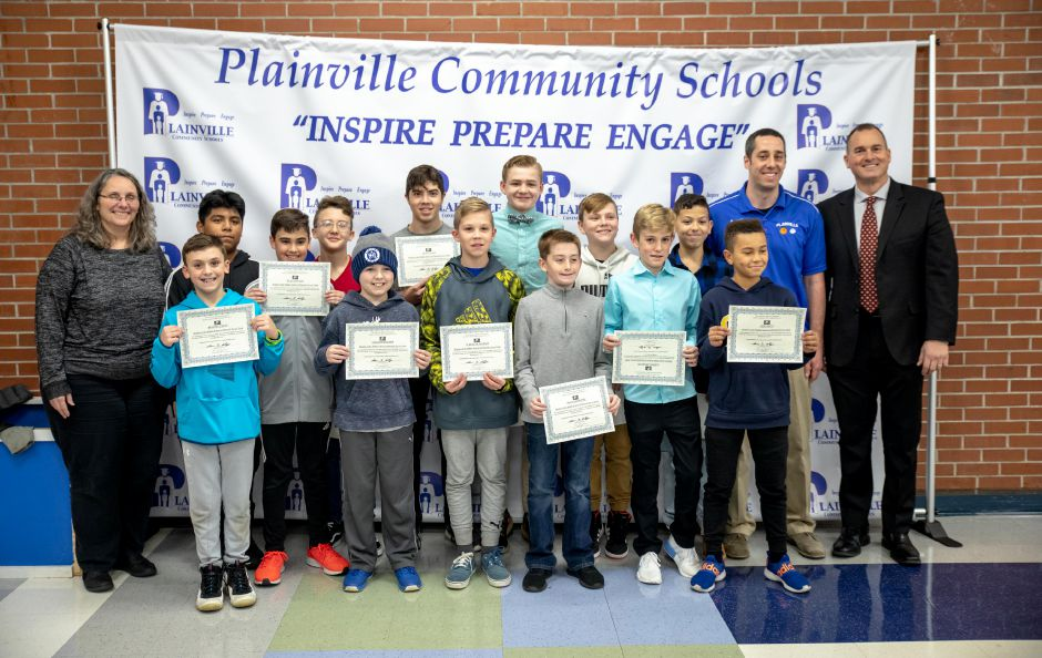 Members of the Middle School of Plainville's undefeated boys soccer team were celebrated during the Dec. 16 Board of Education meeting. Devin Leith-Yessian, The Citizen
