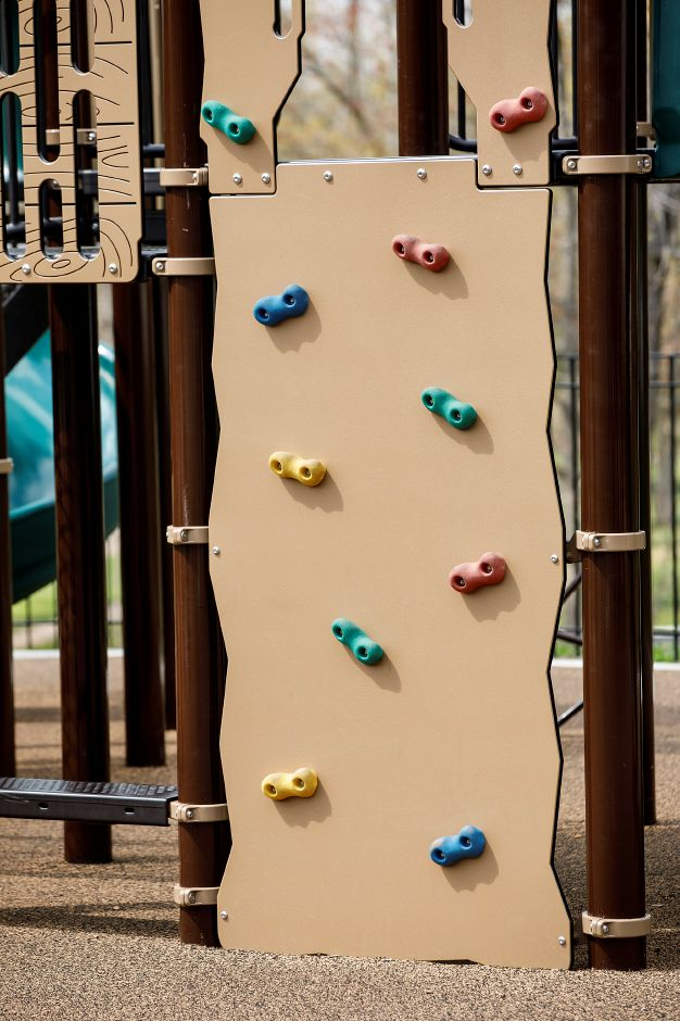 A climbing wall on the new playscape at Veterans Memorial Park on Woodruff Street in Southington, Wed., Apr. 21, 2021. The playscape was made possible through a partnership of the Rotary Club of Southington, the Community Foundation of Greater New Britain and the Town of Southington. Dave Zajac, Record-Journal