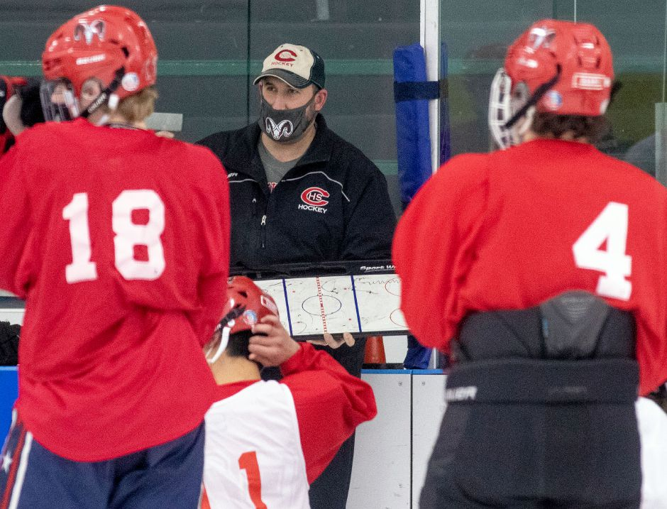Coach Anthony Giusto and his Cheshire hockey team will be in quarantine until next Sunday due to a positive COVID-19 test by a player who hasn't been with the team since last Wednesday. Aaron Flaum, Record-Journal