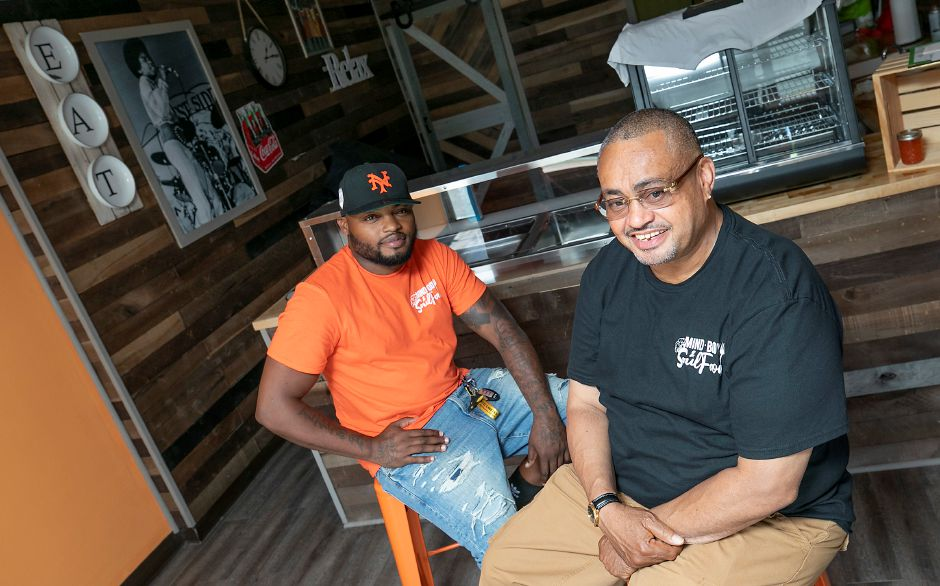 Deja Durant, left, and John Small, co-owners of Mind, Body & Soul Food, 511 W. Main St., Meriden, Fri., Jun. 19, 2020. The new restaurant will serve mac-n-cheese, collard greens and chicken and waffles along with cheesesteak sandwiches, chilli dogs and tuna wrap. Dave Zajac, Record-Journal