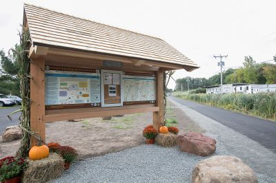 A trail kiosk on the Lazy Lane side of a new section of the Southington linear trail that extends to Curtis Street in Southington, Thursday, Sept. 21, 2017.    | Dave Zajac, Record-Journal