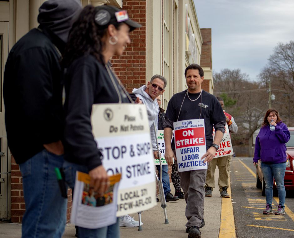Bill Brown, the grocery manager at the Meriden Stop & Shop, walks the picket line outside the Broad Street store Thursday April 11, 2019. Brown has worked for Stop & Shop for almost 30 years. | Richie Rathsack, Record-Journal