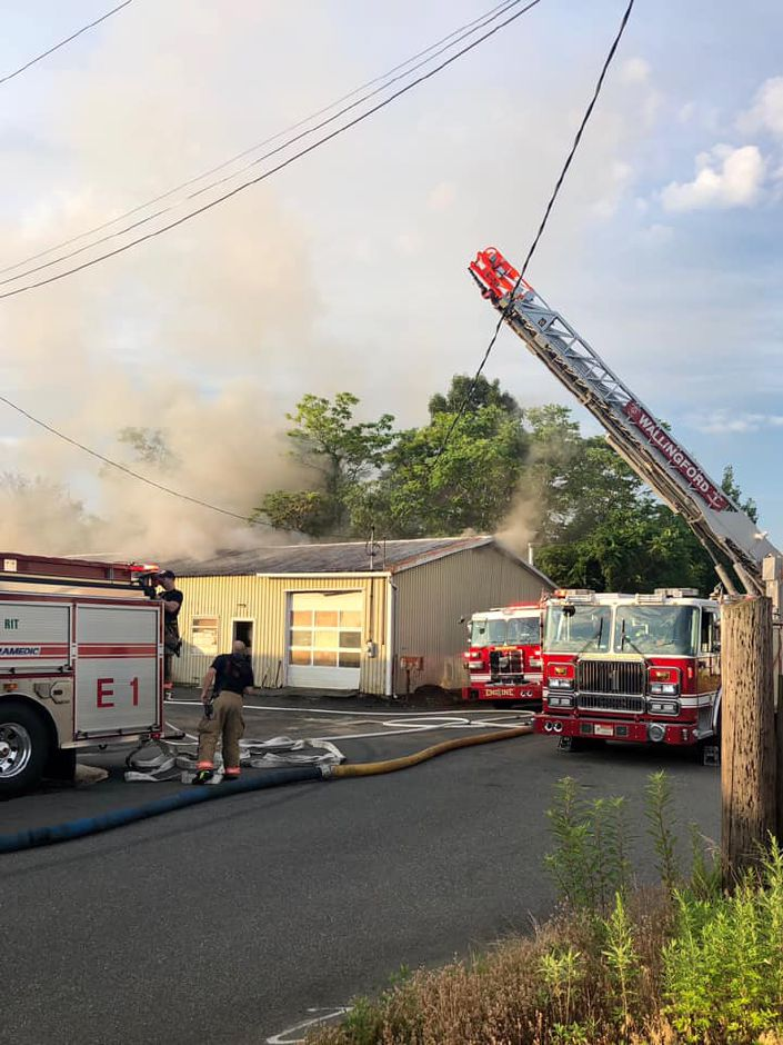 Wallingford firefighters extinguished a fire at 441 North Cherry Street Extension on July 6, 2020. | Image courtesy of the Wallingford Fire Department