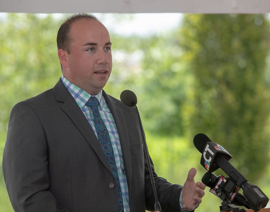 FILE PHOTO: Mayor Kevin Scarpati speaks on the Meriden Green, Tuesday, July 24, 2018. Dave Zajac, Record-Journal