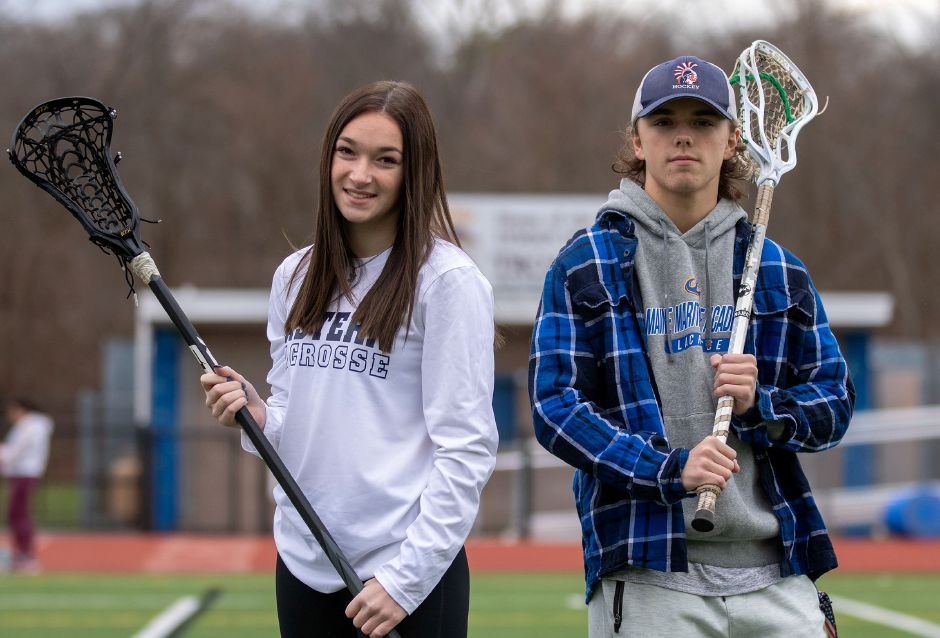 Lyman Hall seniors Claire Riccitelli-Pestana and Brendan Reddington are going to play lacrosse in college — Riccitelli-Pestana at Eastern Connecticut State University and Reddington at Maine Maritime Academy. Aaron Flaum, Record-Journal.