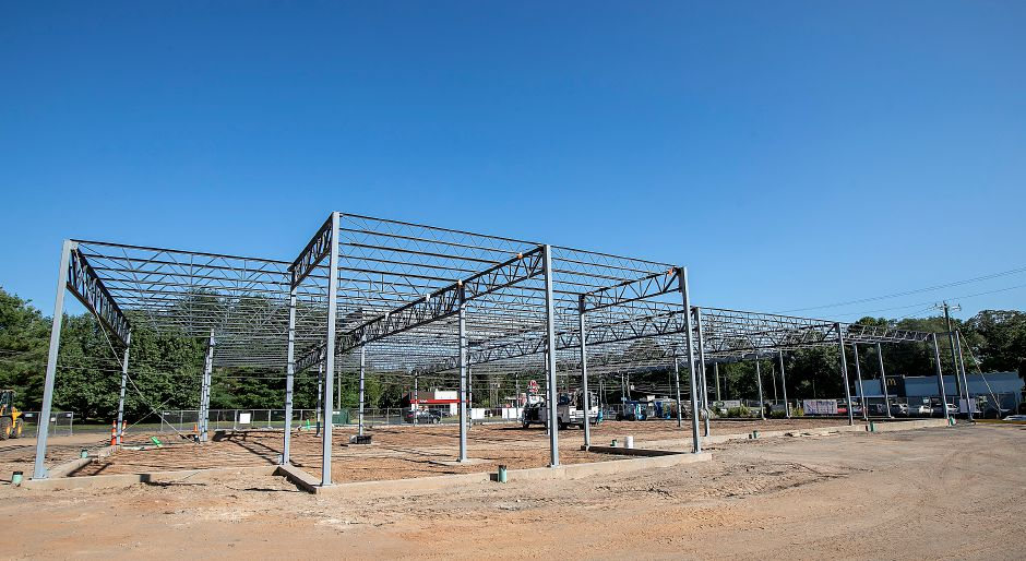 Steel framing is in place as construction continues on the new Tops Market in Southington on Thursday.Dave Zajac, Record-Journal