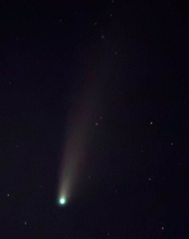 A zoomed in view of Comet NEOWISE photographed from the Record-Journal on South Broad Street in Meriden, Mon., Jul. 20, 2020. The 3-mile-wide comet was discovered on March 27, 2020 and will not be visible again for another 6,800 years. Dave Zajac, Record-Journal