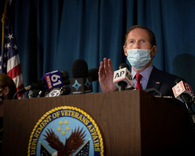 Sen. Richard Blumenthal, D-Conn, addresses the media at news conference inside the West Haven campus of the VA Connecticut Healthcare System West Haven, Friday, Nov. 13, 2020 in West Haven, Conn. Two workers were killed in an explosion on Friday while repairing a steam pipe at a maintenance building on the hospital campus. (AP Photo/Robert Bumsted)