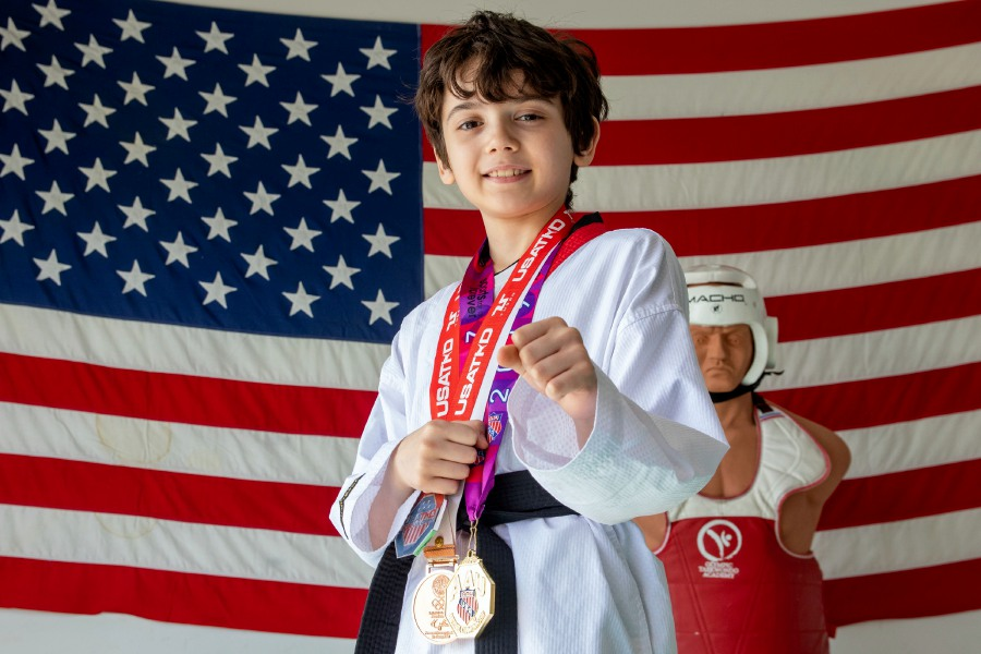 Lorenzo Pragano at his gym at home in Meriden. A third grader at Israel Putnam School, Pragano recently placed second at the 2020 Taekwondo U.S. Open at the ESPN Wide World of Sports Complex in Florida. Aaron Flaum, Record-Journal