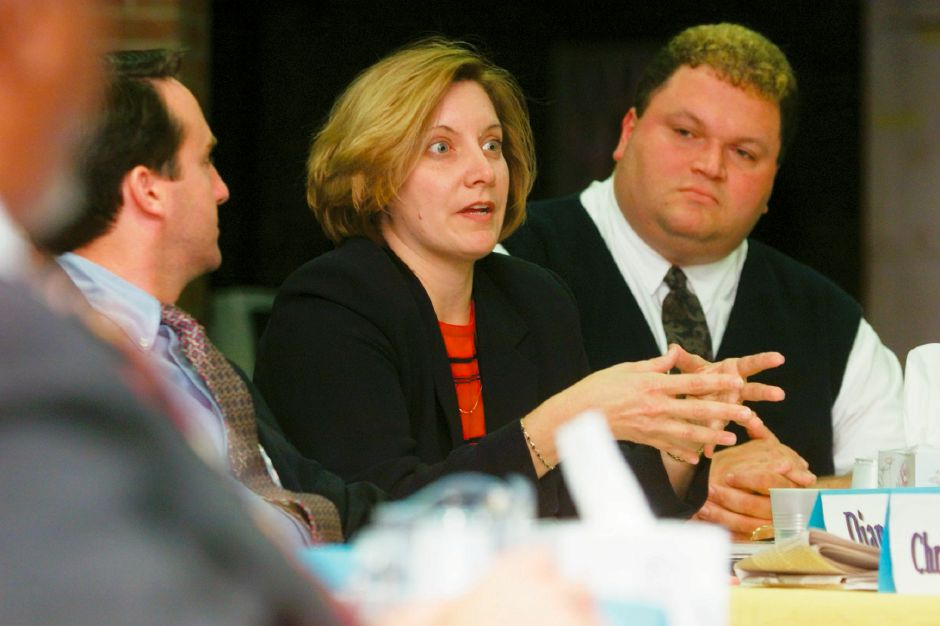 Christopher Carter Jr., left, Dianne Sargalski, middle, and Robert Kosienski Jr., left, are Republicans responding to questions at a Board of Education meeting at Platt High School in Meriden, 1999.