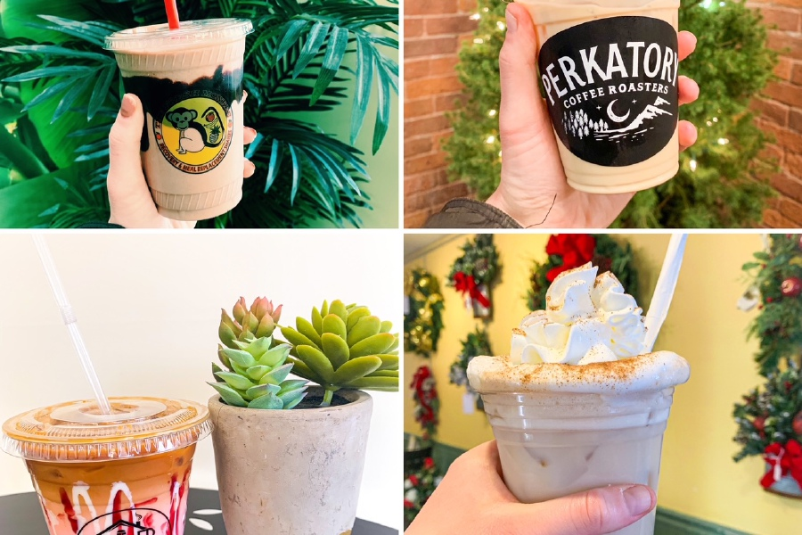 Specialty coffee drinks and smoothies to try in Southington. Clockwise from top left, The Fresh Monkee, Perkatory Coffee Roasters, Southington Coffee House and Paul Gregory's.