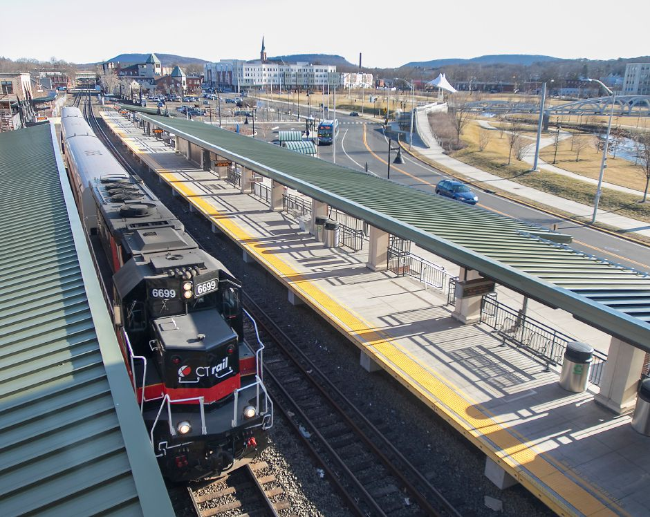 A CTrail train pulls into the Meriden train station on State Street, Fri., Feb. 21, 2020. Dave Zajac, Record-Journal