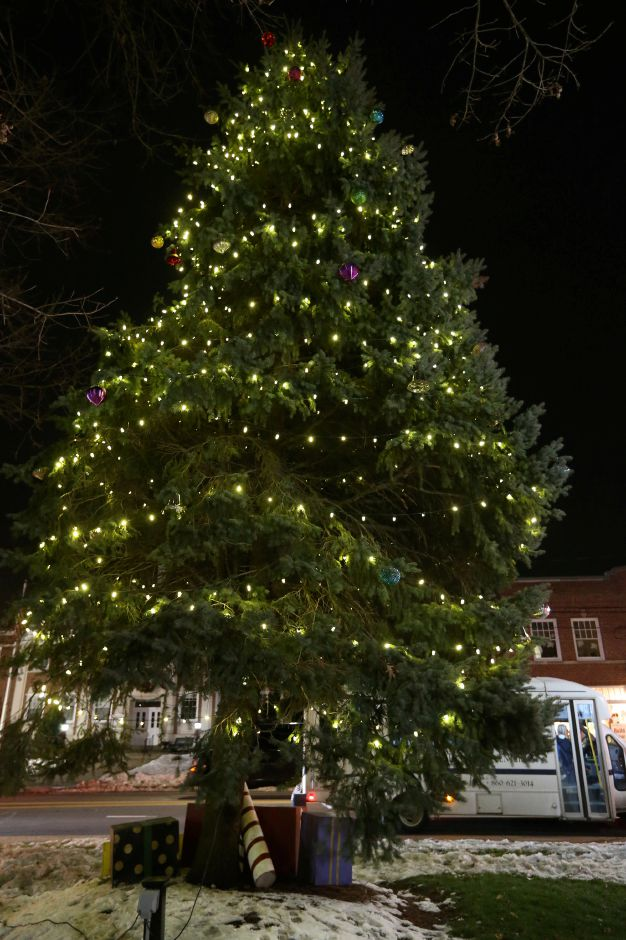 The decorated, lighted Christmas tree on the green during the annual Southington White Christmas in the Community event on Friday night, Dec. 6, 2019. Emily J. Tilley, special to the Record-Journal.
