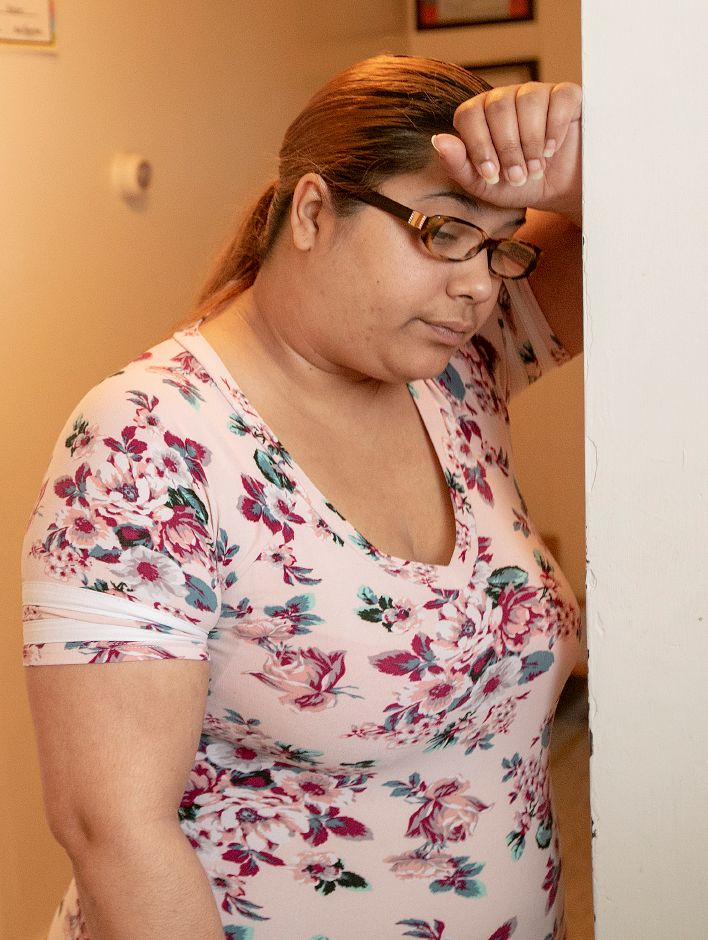 Catherine Beltran, of Meriden, remains frightened in her apartment over City Tavern on Broad Street in Meriden, Wed., May 1, 2019. Six bullets pierced the walls and windows of the residence Friday night. Dave Zajac, Record-Journal