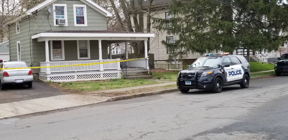 Meriden police investigate a shooting on South First Street Friday morning April 29, 2019. | Jeniece Roman, Record-Journal