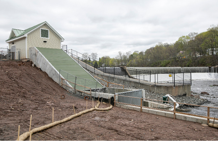 The Archimedes Screw Turbine at Hanover Pond in Meriden, Thursday, April 27, 2017. New England Hydropower Company, LLC (NEHC) announced today that it has energized the first Archimedes Screw Turbine (AST) generation facility in the United States at the Hanover Pond project in Meriden.   | Dave Zajac, Record-Journal