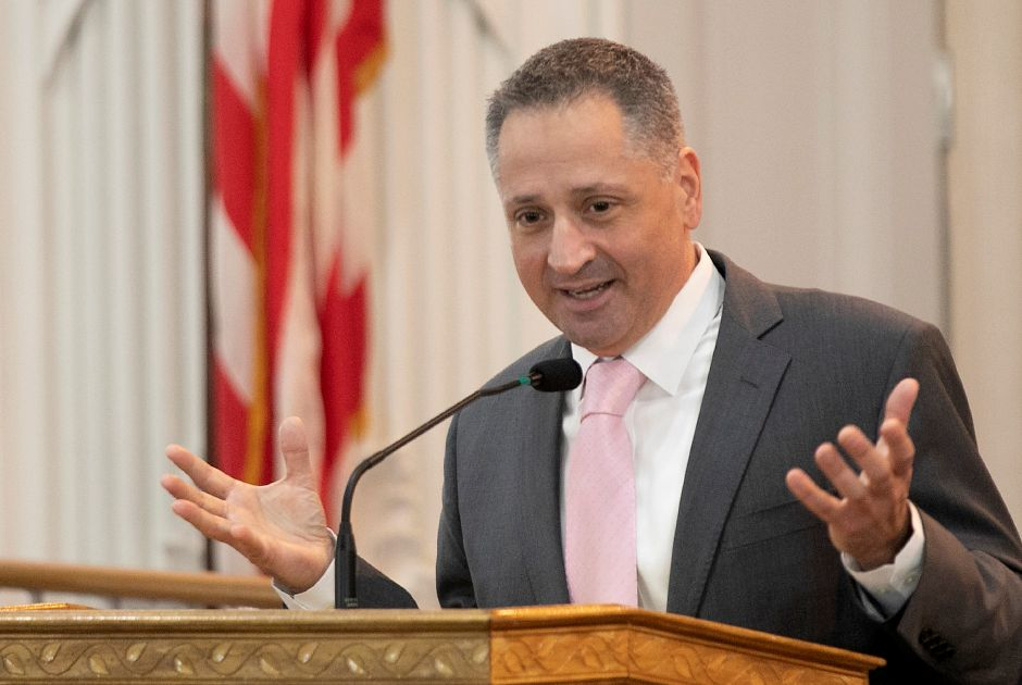 Superintendent of Schools Salvatore Menzo speaks during a celebration of Dr. Martin Luther King Jr., at Wallingford Town Hall, Mon., Jan. 20, 2020. Dave Zajac, Record-Journal