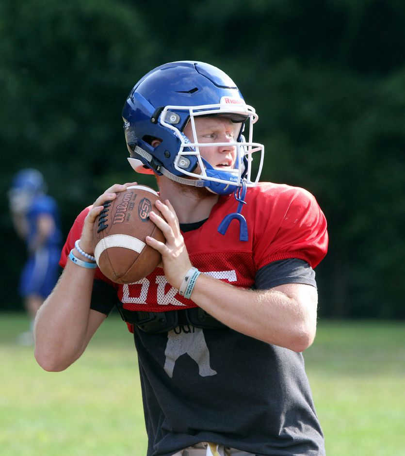 Southington junior wide receiver Shane LaPorte takes some reps at quarterback during practice. | Aaron Flaum, Record-Journal