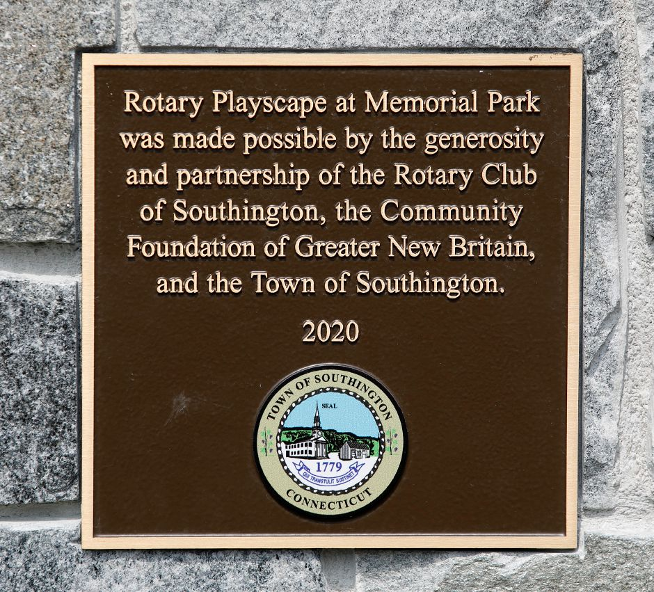 A plaque on the new playscape at Veterans Memorial Park on Woodruff Street in Southington, Wed., Apr. 21, 2021. The playscape was made possible through a partnership of the Rotary Club of Southington, the Community Foundation of Greater New Britain and the Town of Southington. Dave Zajac, Record-Journal