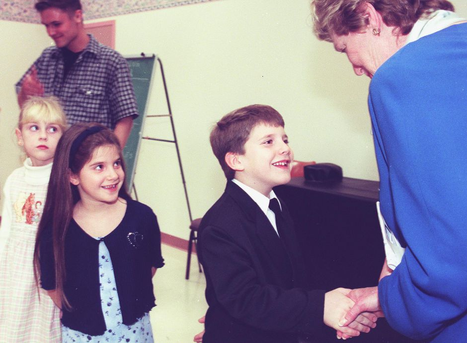 (L)-(R) Chelsea Peck (6), Ashley Roy(7) and Matthew Roy(7) all of Meriden and members of the HiLiters wait to meet LT. Gov Jodi Rell after a ceremony at the Meriden Senior Center Wednesday Oct. 27, 1999. REll was in town to present Richard Fontanella and the HiLiters with the Lt Governors Connecticut Treasures Award.