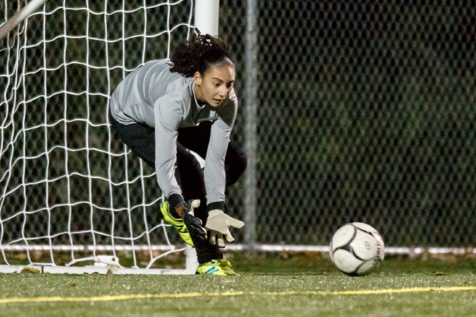 Coming off an exception outing in Thursday's season-opening loss to powerhouse Wethersfield, Maloney goalie Abby Lespier pitched a shutout in Saturday's 3-0 victory in Rocky Hill. Record-Journal file photo