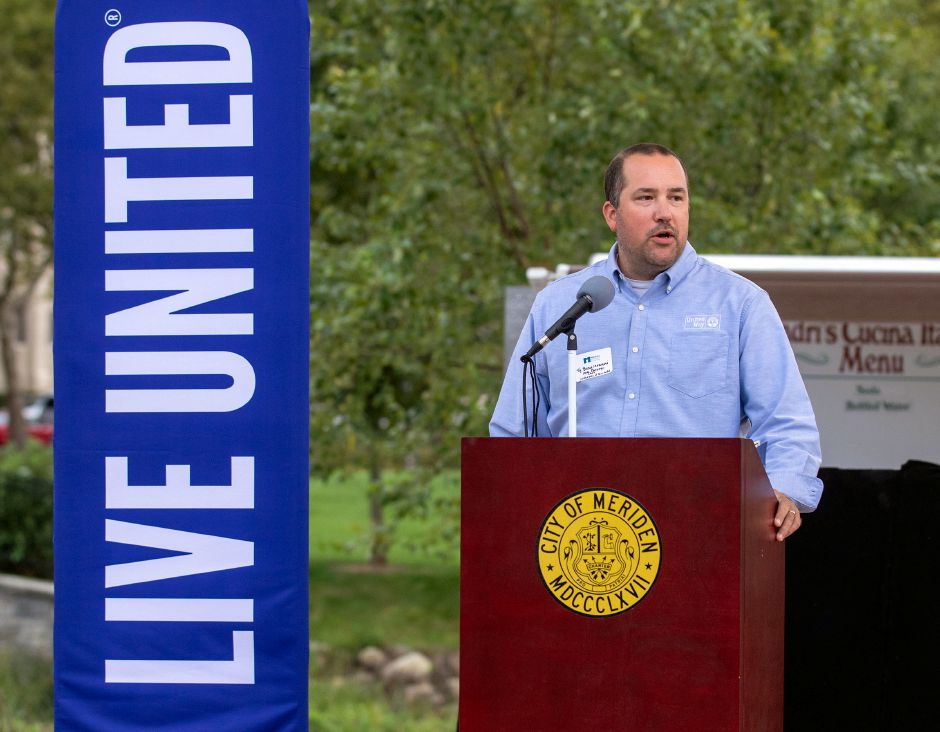 United Way 2021 Campaign Chair Ty Bongiovanni from Bongiovanni Insurance and Financial, kicks off the 2021 campaign during the 2020-21 United Way of Meriden and Wallingford Award Ceremony and Community Campaign Kick-Off Event at the Meriden Green Amphitheater on Thursday, September 17, 2020. Aaron Flaum, Record-Journal